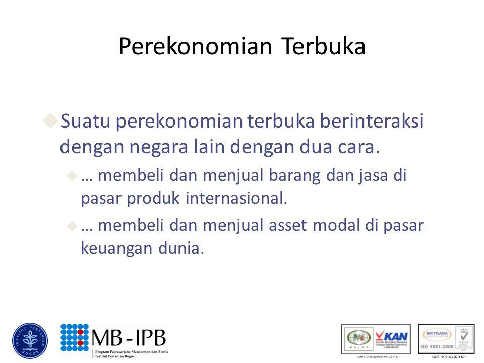 Perekonomian Terbuka Suatu perekonomian terbuka berinteraksi dengan negara lain dengan dua cara.