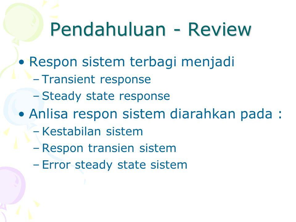 Pendahuluan - Review Respon sistem terbagi menjadi