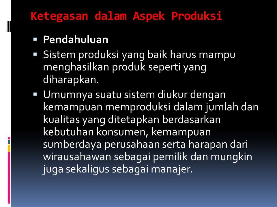 Ketegasan dalam Aspek Produksi