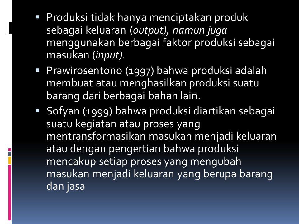 Produksi tidak hanya menciptakan produk sebagai keluaran (output), namun juga menggunakan berbagai faktor produksi sebagai masukan (input).