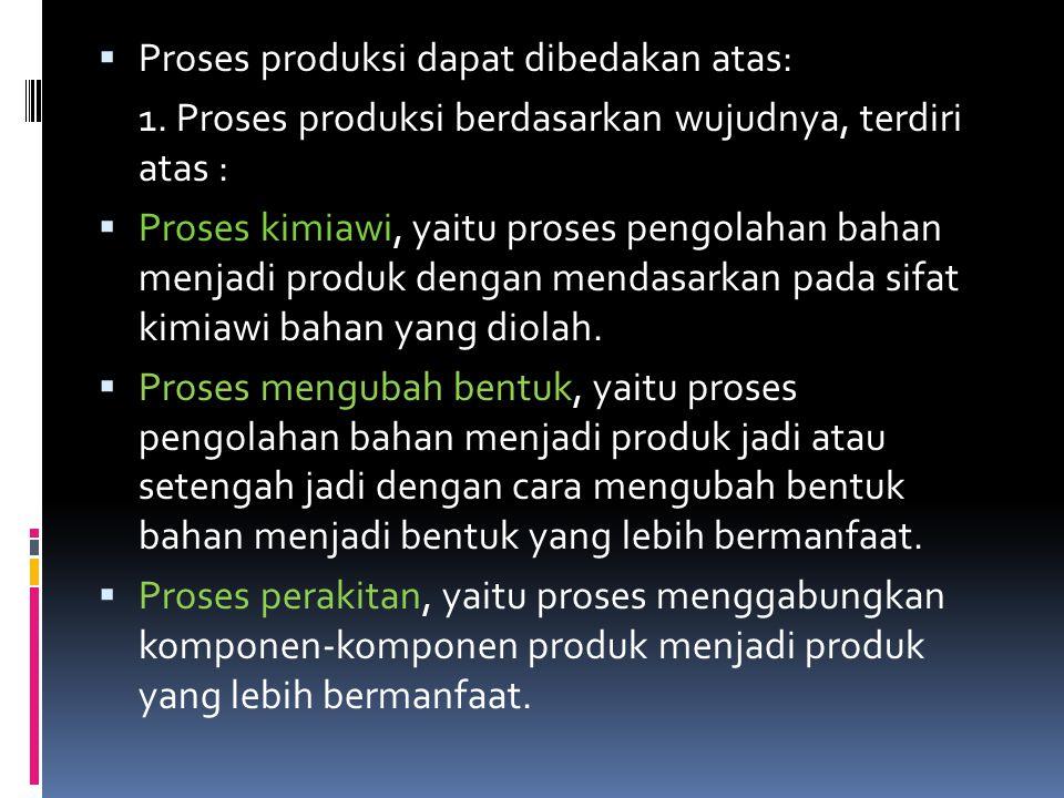 Proses produksi dapat dibedakan atas: