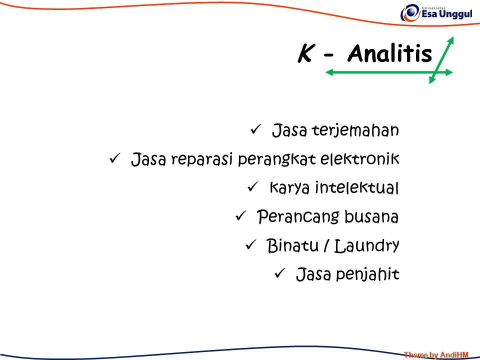 K - Analitis Jasa terjemahan Jasa reparasi perangkat elektronik