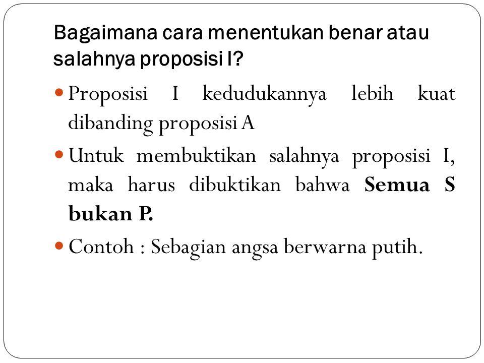 Bagaimana cara menentukan benar atau salahnya proposisi I