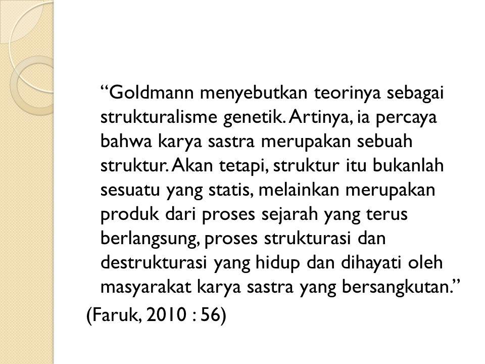 Goldmann menyebutkan teorinya sebagai strukturalisme genetik