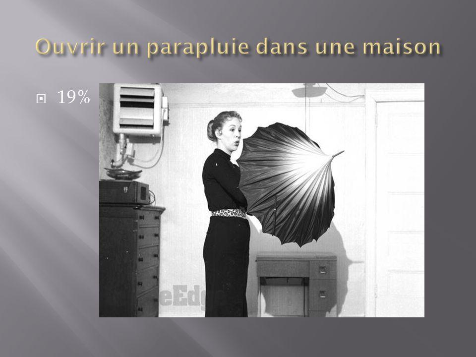 Ouvrir un parapluie dans une maison