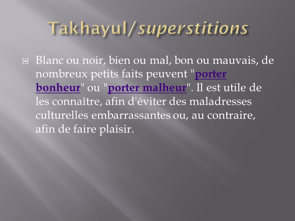 Takhayul/superstitions