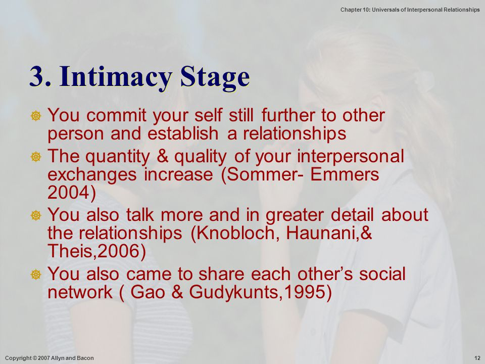 3. Intimacy Stage You commit your self still further to other person and establish a relationships.