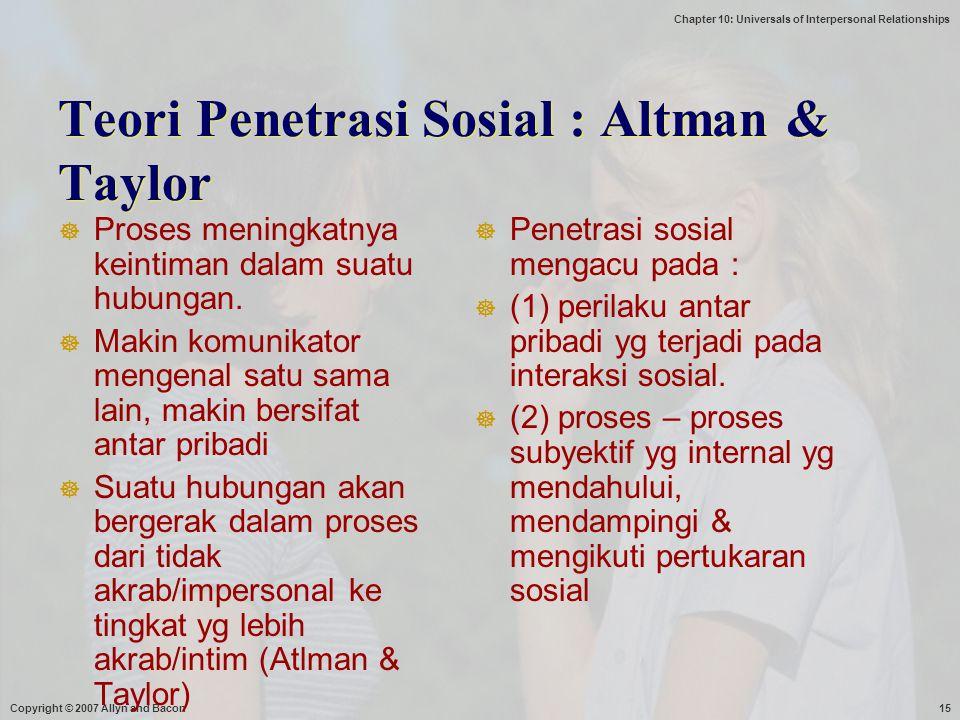 Teori Penetrasi Sosial : Altman & Taylor