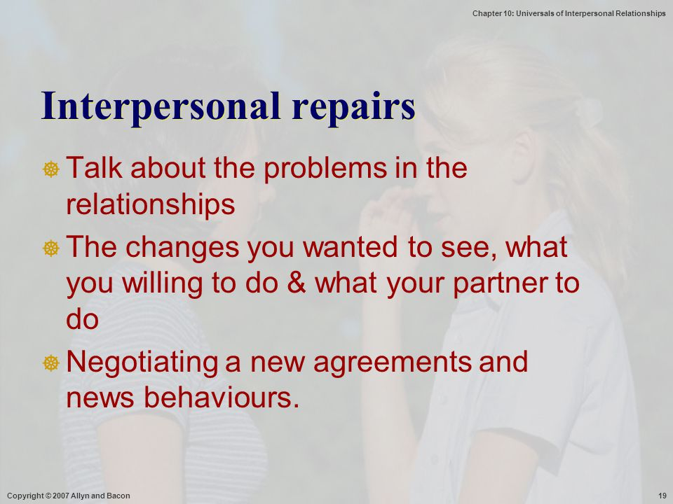 Interpersonal repairs