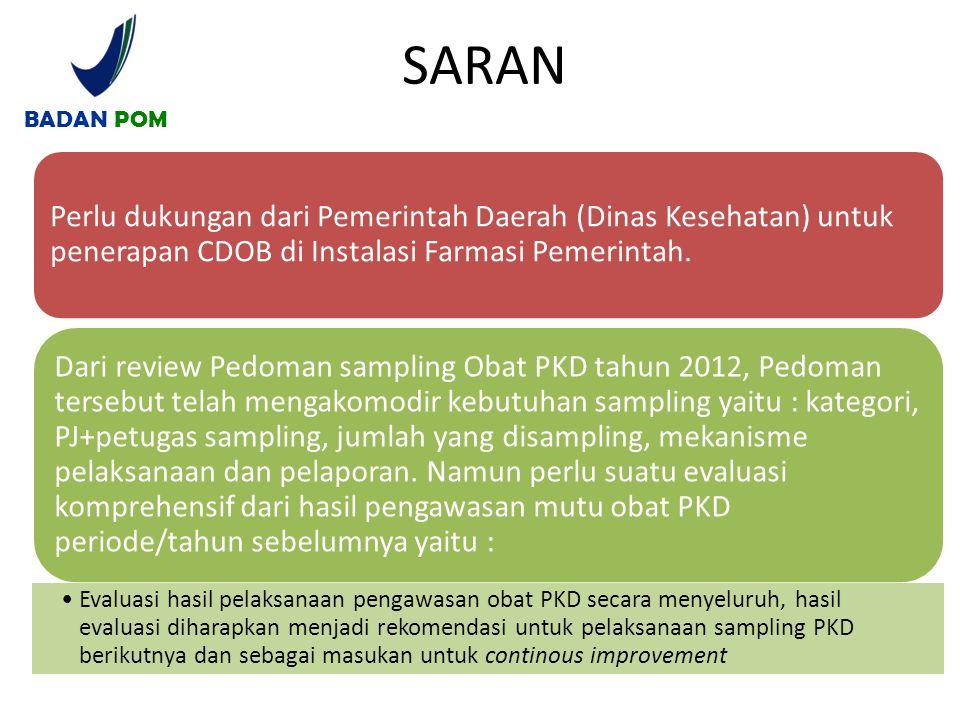 BADAN POM SARAN. Perlu dukungan dari Pemerintah Daerah (Dinas Kesehatan) untuk penerapan CDOB di Instalasi Farmasi Pemerintah.