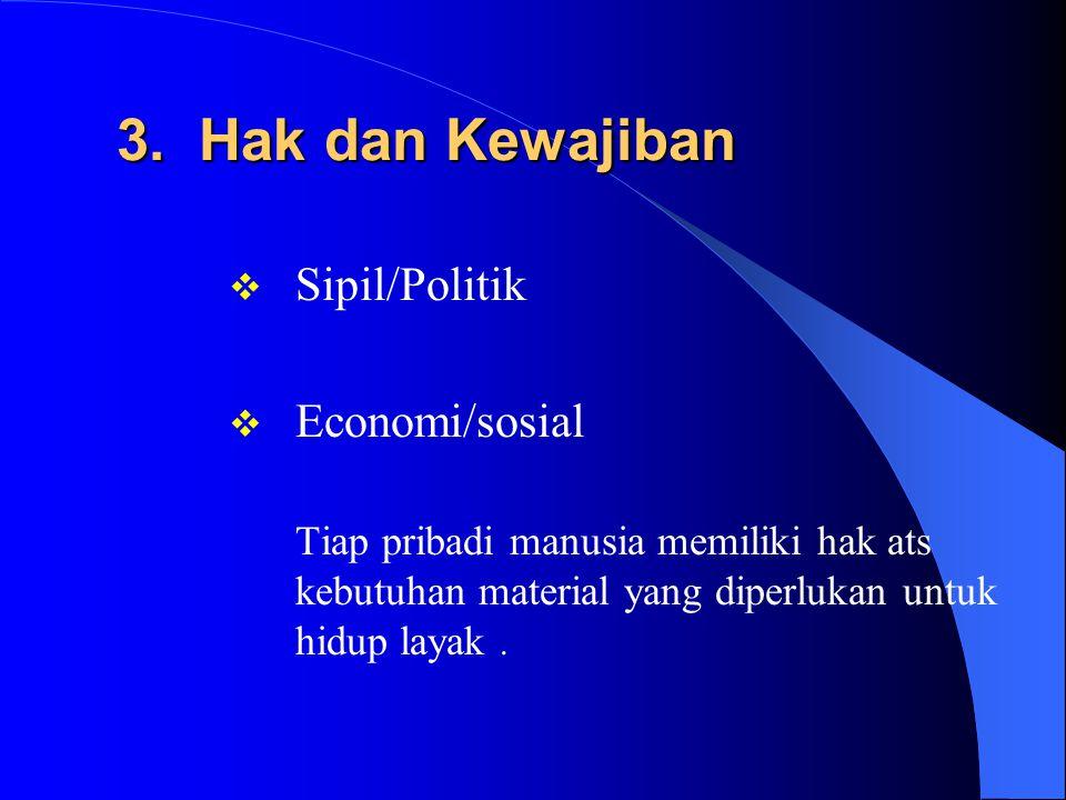 3. Hak dan Kewajiban Sipil/Politik Economi/sosial