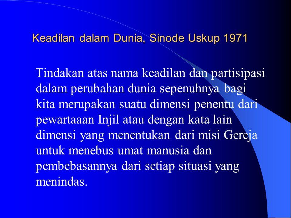 Keadilan dalam Dunia, Sinode Uskup 1971