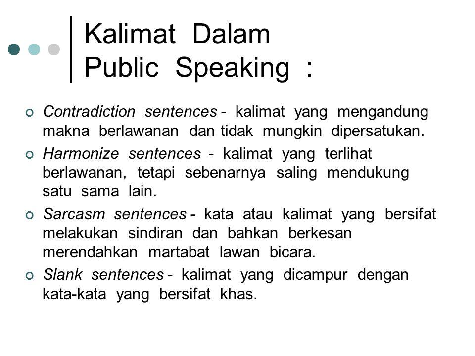 Kalimat Dalam Public Speaking :