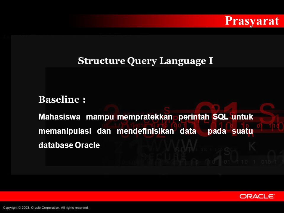 Structure Query Language I