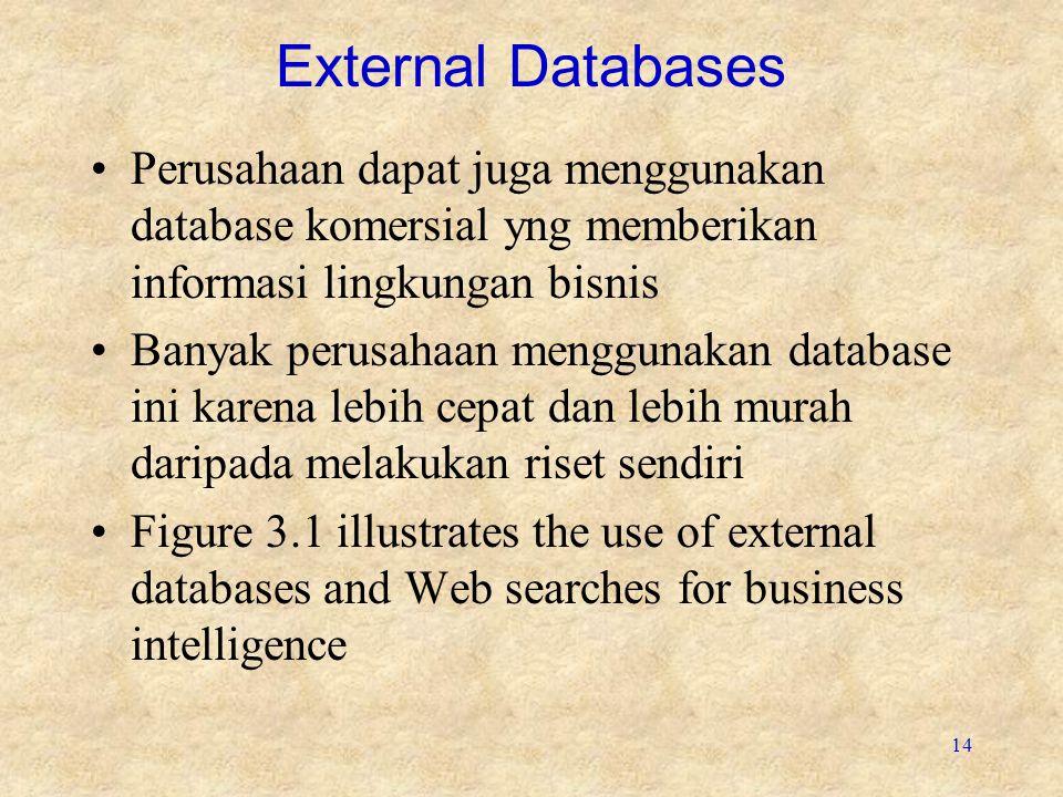 External Databases Perusahaan dapat juga menggunakan database komersial yng memberikan informasi lingkungan bisnis.