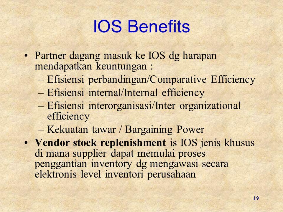 IOS Benefits Partner dagang masuk ke IOS dg harapan mendapatkan keuntungan : Efisiensi perbandingan/Comparative Efficiency.