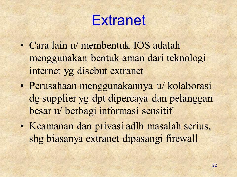 Extranet Cara lain u/ membentuk IOS adalah menggunakan bentuk aman dari teknologi internet yg disebut extranet.