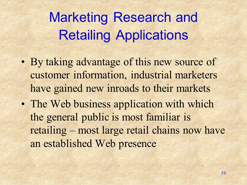 Marketing Research and Retailing Applications