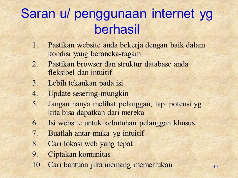 Saran u/ penggunaan internet yg berhasil