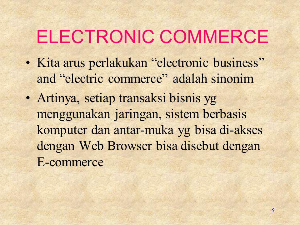 ELECTRONIC COMMERCE Kita arus perlakukan electronic business and electric commerce adalah sinonim.