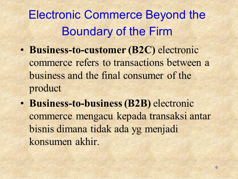 Electronic Commerce Beyond the Boundary of the Firm