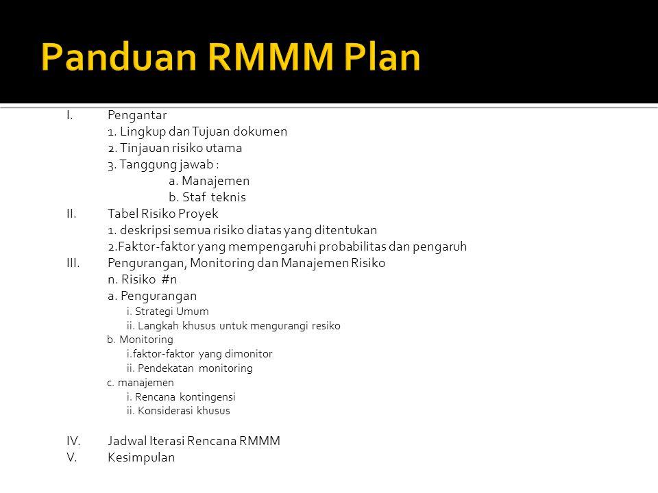 Panduan RMMM Plan I. Pengantar 1. Lingkup dan Tujuan dokumen