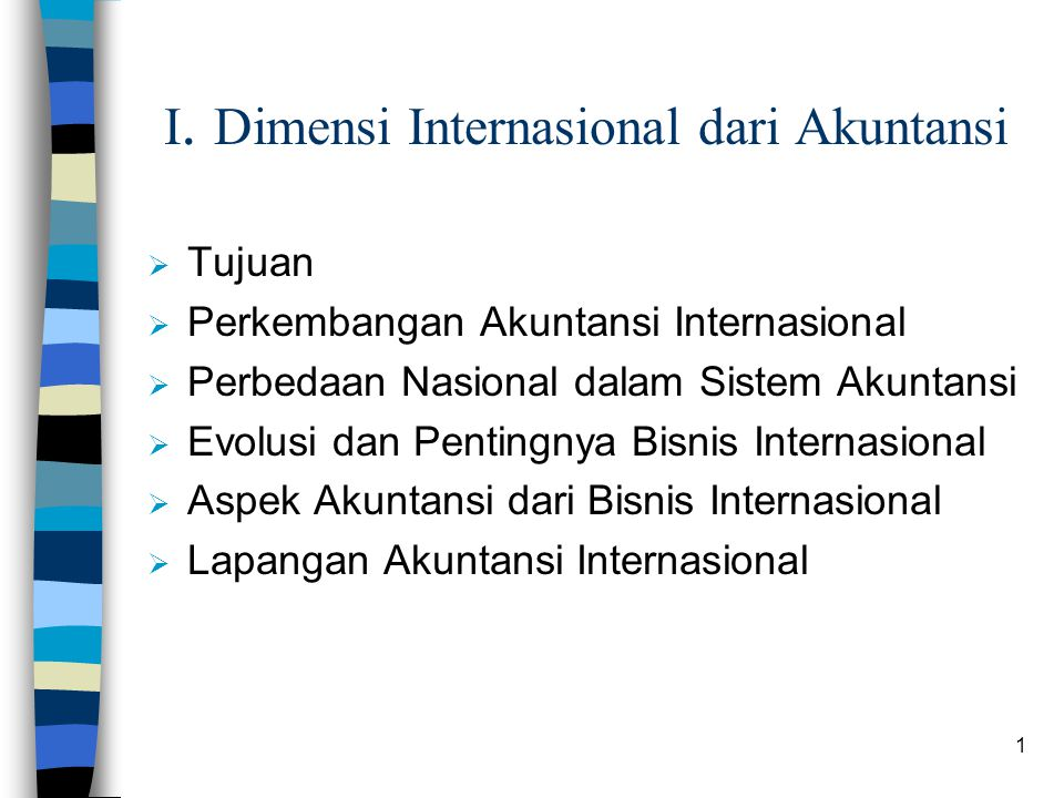 I. Dimensi Internasional dari Akuntansi