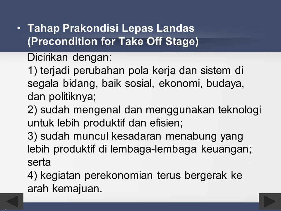 Tahap Prakondisi Lepas Landas (Precondition for Take Off Stage)