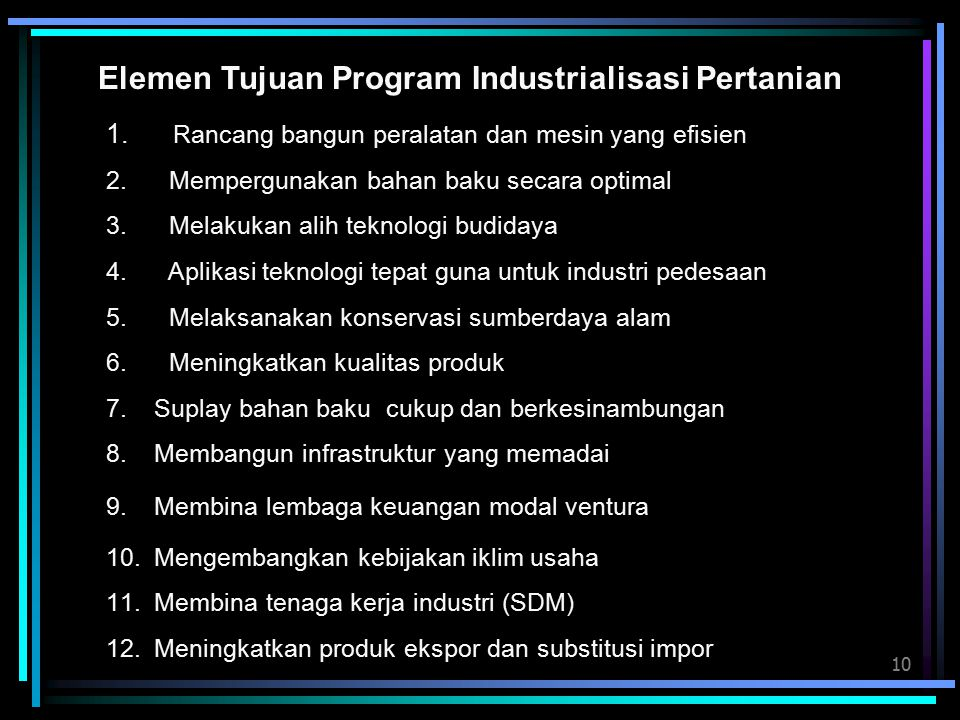 Elemen Tujuan Program Industrialisasi Pertanian