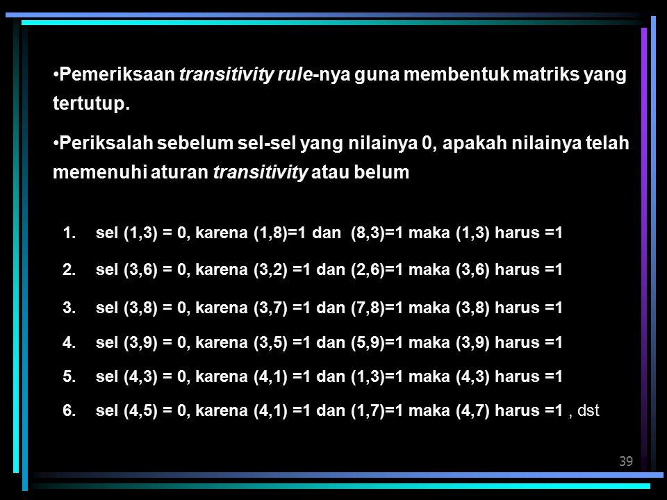 Pemeriksaan transitivity rule-nya guna membentuk matriks yang tertutup.
