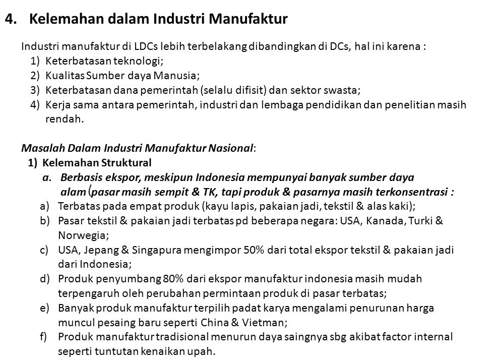 Kelemahan dalam Industri Manufaktur