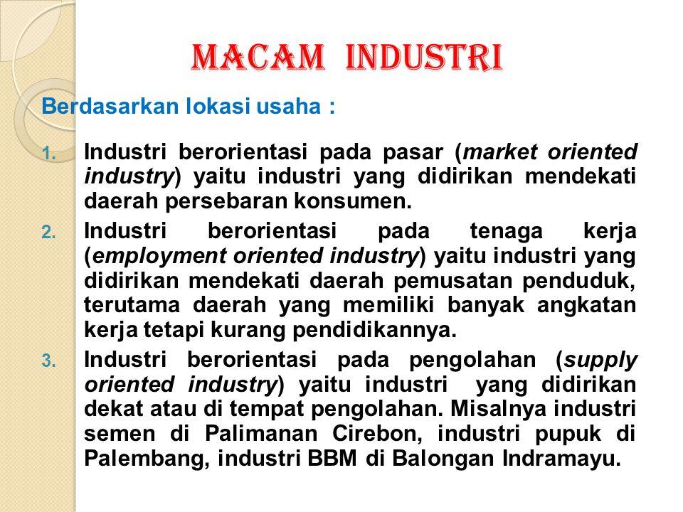 MACAM INDUSTRI Berdasarkan lokasi usaha :