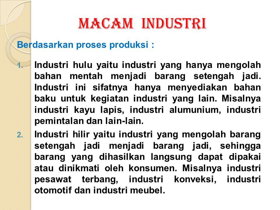MACAM INDUSTRI Berdasarkan proses produksi :