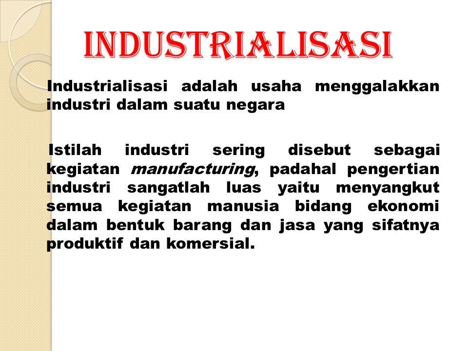 INDUSTRIALISASI Industrialisasi adalah usaha menggalakkan industri dalam suatu negara.