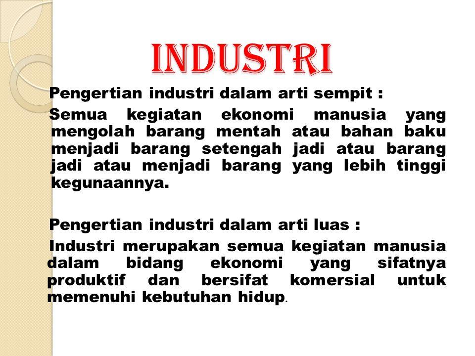 INDUSTRI Pengertian industri dalam arti sempit :
