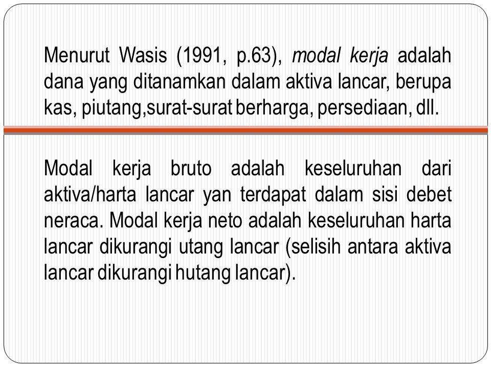 Menurut Wasis (1991, p.63), modal kerja adalah dana yang ditanamkan dalam aktiva lancar, berupa kas, piutang,surat-surat berharga, persediaan, dll.