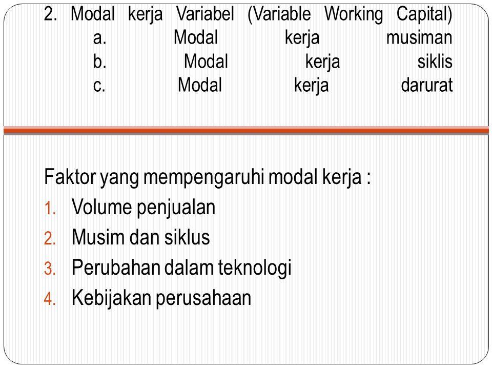 Faktor yang mempengaruhi modal kerja : Volume penjualan