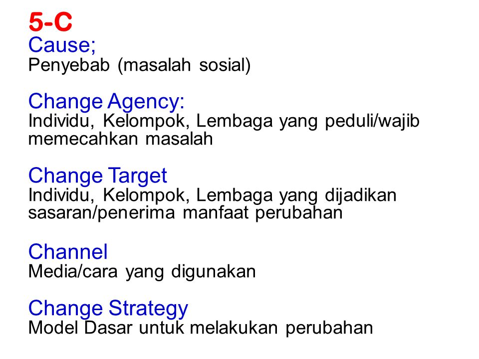5-C Cause; Change Agency: Change Target Channel Change Strategy