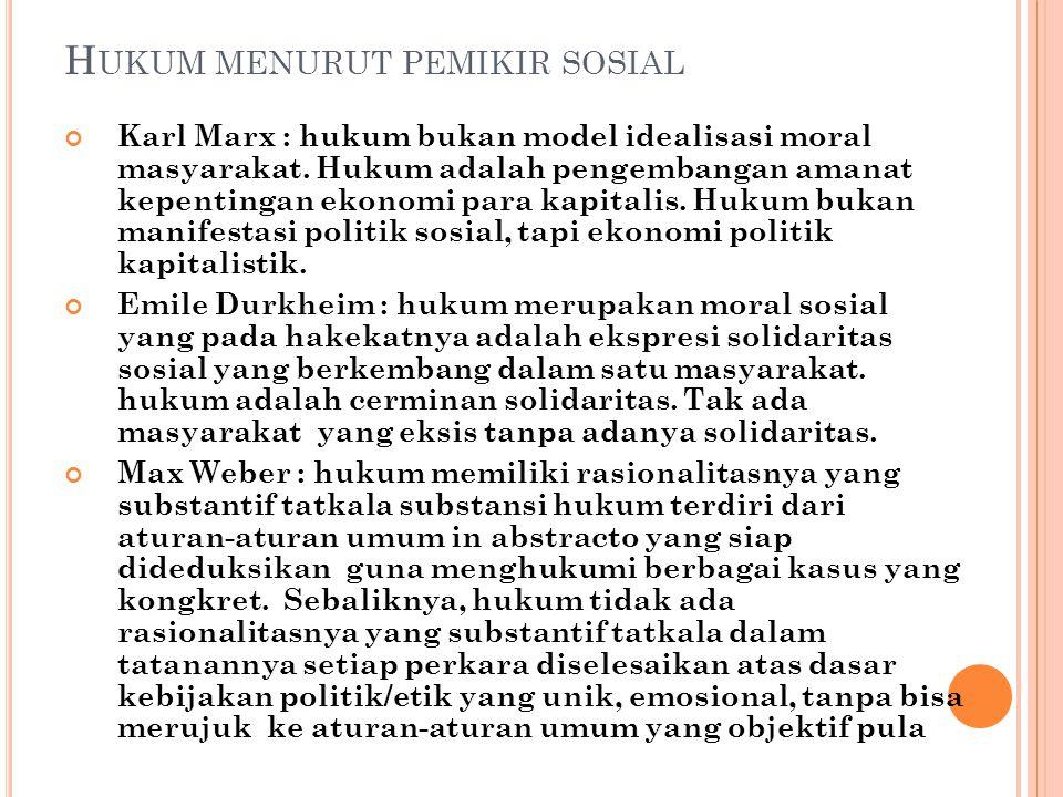 Hukum menurut pemikir sosial