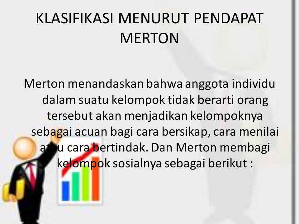 KLASIFIKASI MENURUT PENDAPAT MERTON