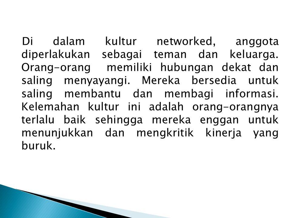 Di dalam kultur networked, anggota diperlakukan sebagai teman dan keluarga.