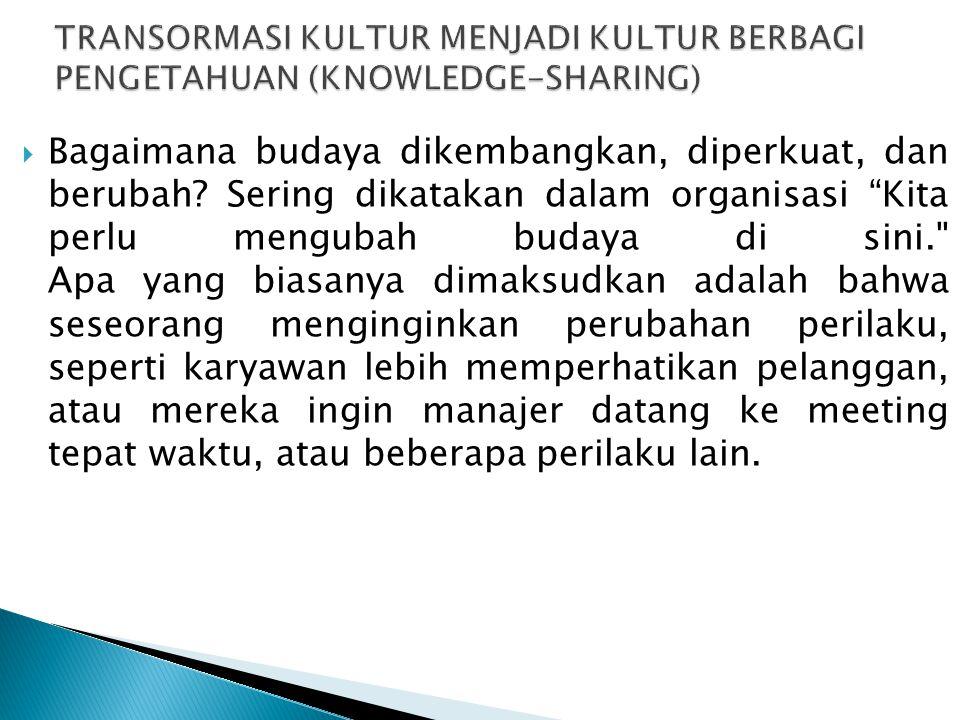 TRANSORMASI KULTUR MENJADI KULTUR BERBAGI PENGETAHUAN (KNOWLEDGE-SHARING)