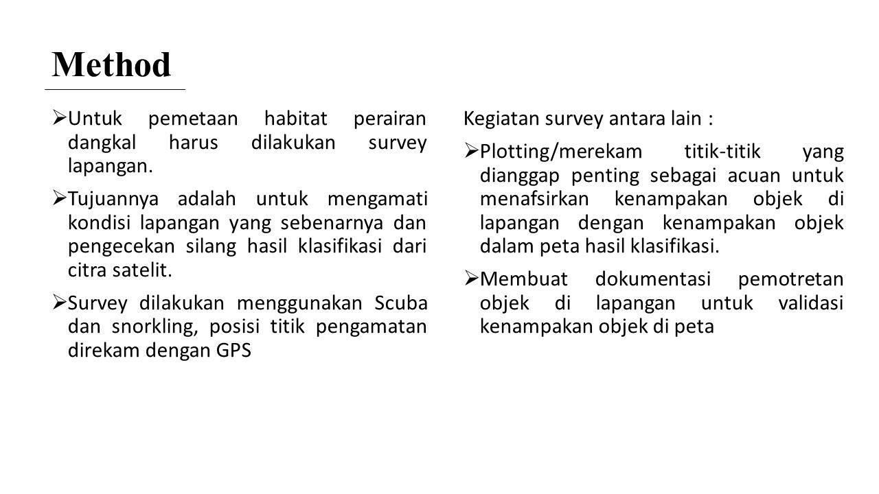 Method Untuk pemetaan habitat perairan dangkal harus dilakukan survey lapangan.