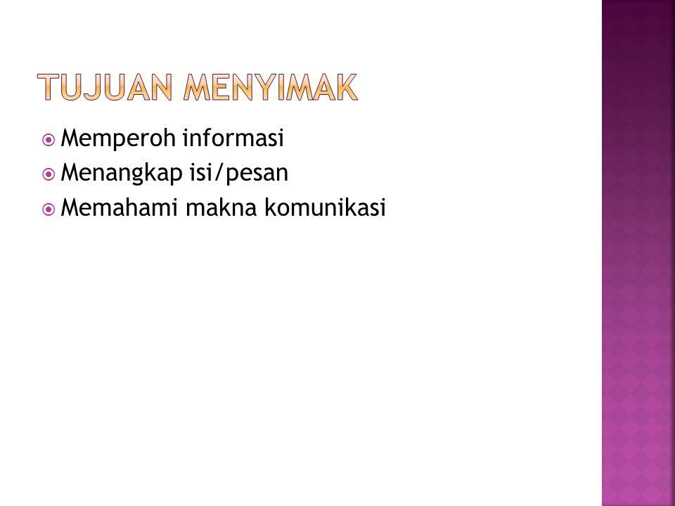 Tujuan Menyimak Memperoh informasi Menangkap isi/pesan