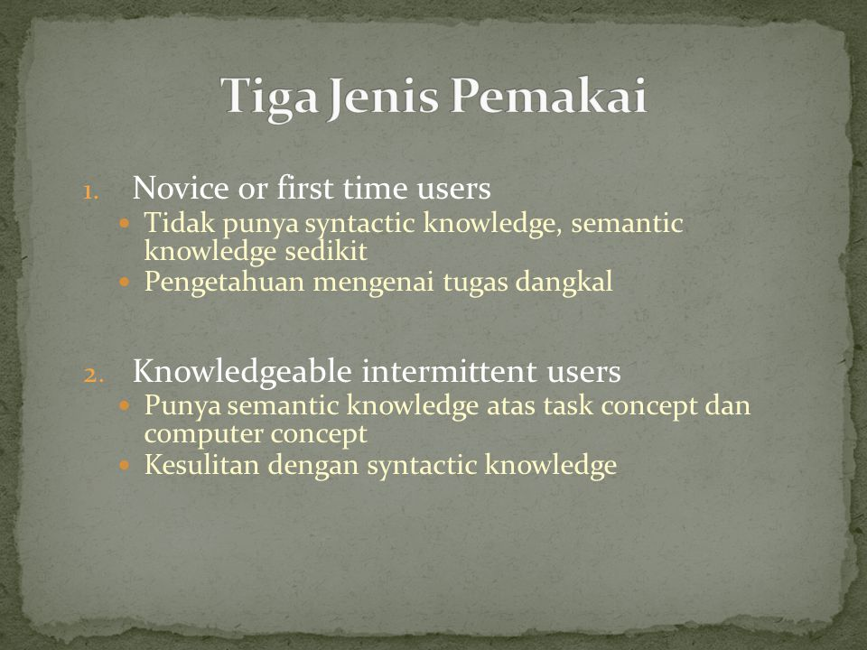 Tiga Jenis Pemakai Novice or first time users