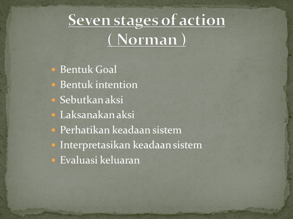 Seven stages of action ( Norman )