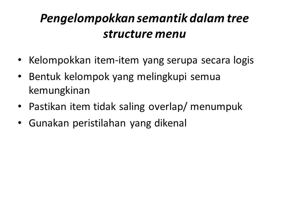 Pengelompokkan semantik dalam tree structure menu