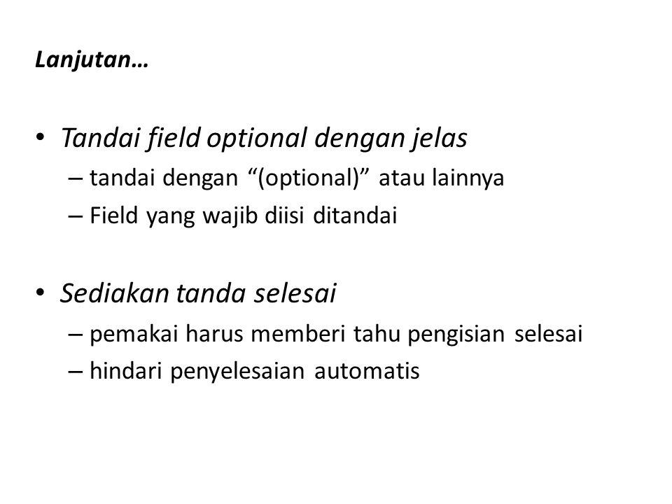 Tandai field optional dengan jelas