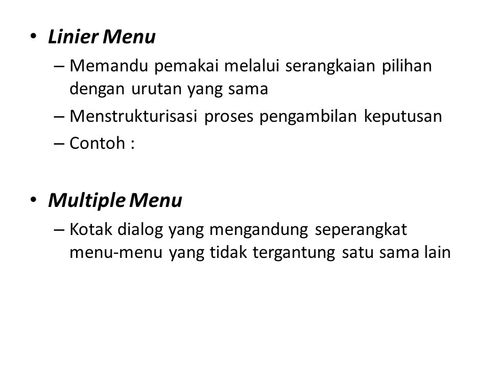 Linier Menu Multiple Menu