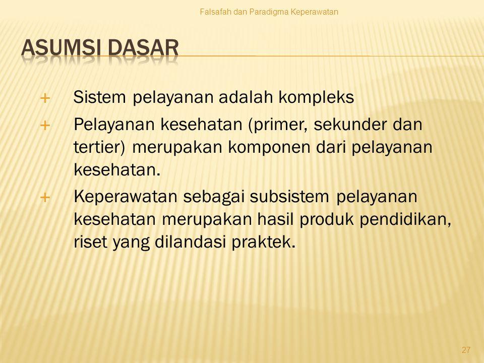 Asumsi dasar Sistem pelayanan adalah kompleks
